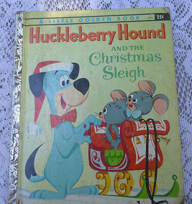 Huckleberry Hound & Xmas Sleigh Golden Book English Hardcover Illustrated 1960