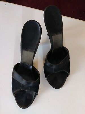 Ladies Vintage Slip-On Mule Springolators 7.5 - 8 Black