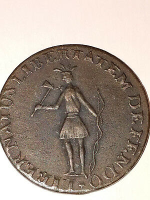 1787 COPPER New York Indian Excelsior Token, Excelsior Colonial Coin money cent