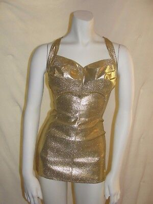 Vintage 50s GOLD Lame SWIMSUIT 1950s COLE of California Esther Williams.