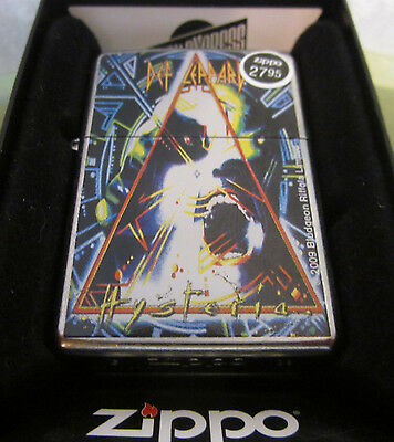 Vintage NEW VERY RARE 2009 DEF LEPPARD HYSTERIA ZIPPO LIGHTER NEW IN BOX!