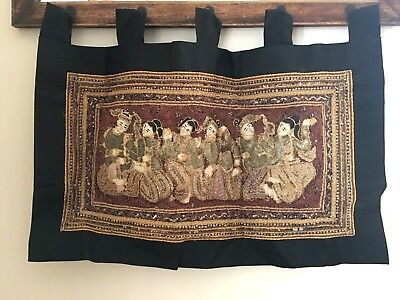 Vintage Indonesian Textile Wall Hanging Panel ~ Black Gold Sequins Sparkly