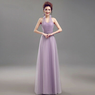 UK Chiffon Long Evening Party Ball Gown prom dress Bridesmaid Dresses Size 6-24