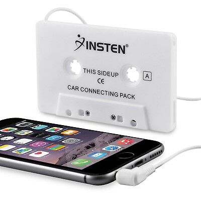 Insten Car Cassette Tape Deck Adapter Compatible with 3.5mm Jack Audio MP3/CD...