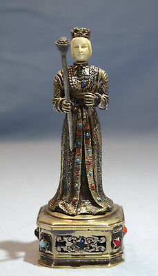 German Sterling Gilt Silver Figure of a Queen Carved Face Rhinestones Circa 1900