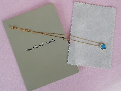 -Auth -Van Cleef & Arpels 18K Yellow Gold One Turquoise Motif Alhambra Necklace