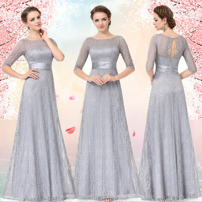 Ever-Pretty Long Maxi Lace Chiffon Gery Dresses Bridesmaid Evening Formal Party