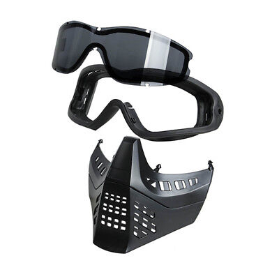 TMC Tactical Airsoft Paintball MC Split Anti-fog Goggles Mask Removeable Mask