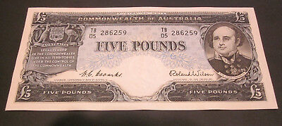 Australian1954 Coombs-Wilson  Five Pounds Banknote Uncirculated / TB 05 - £5 Unc
