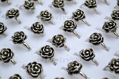Wholesale Mixed Lots 5pcs Jewelry Resale Rose Silver Plated Women's Rings FREE