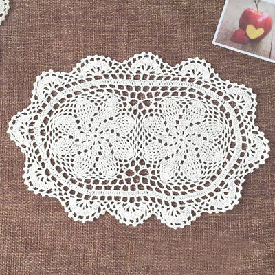 4pcs/lot Oval White Vintage Hand Crochet Cotton Lace Doilies 10X16inch Floral