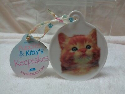 New Taskets Calico Kitty Round Porcelain Ornament By Puppies & Kitty's Keepsakes