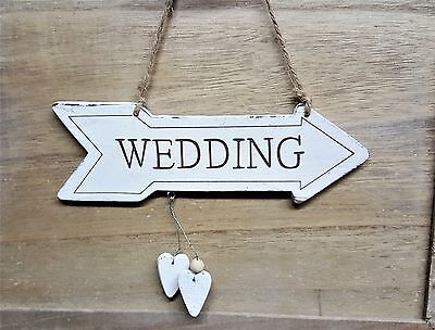 White Wooden Wedding Sign Arrow Vintage Style Plaque Party Decoration Chic