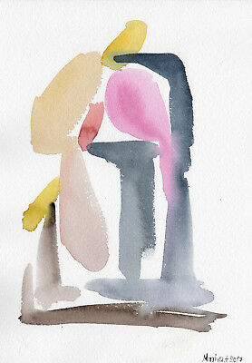 NAVY BLUE PINK YELLOW ABSTRACT Original Watercolor Painting Modern Home Fine Art