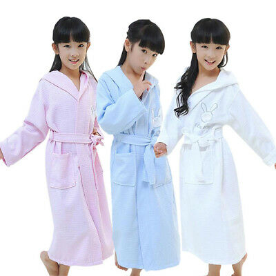 AU Children Kids Cotton Bathrobe Terry Towel Hooded Robe Gown Pajamas Sleepwear