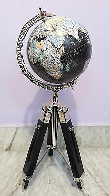 Antique World Globe With Wooden Tripod Stand Vintage Home Decor Item Gift
