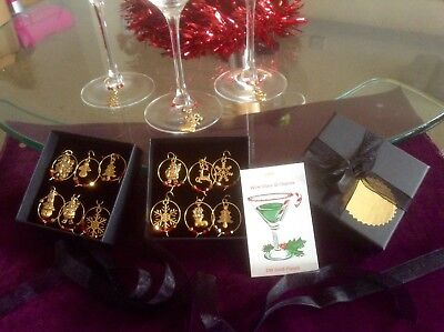 Beautiful 24k Gold Plated Christmas Wine Glass Charms