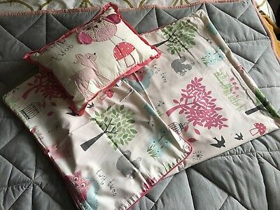 next woodland baby girl cot bed duvet cover pillowcase and cushion