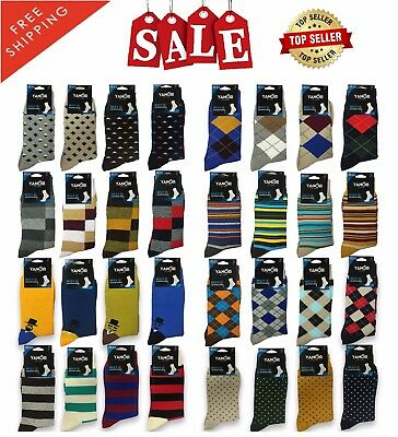 SALES Lot of 3 6 12 Pairs New Men Cotton Argyle Style Dress Socks Casual Size