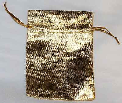 10 x Little Drawstring BAGs  Plain Gold Coloured approx 7cmx9cm for gift/jewelry