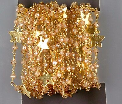 10 Feet Brown Cubic Zirconia Star Charm Rosary Chain 3-3.5mm 24k Gold Plated