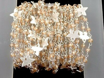 5 Feet Brown Cubic Zirconia Star Charm Rosary Chain 3-3.5mm 925 Silver Plated
