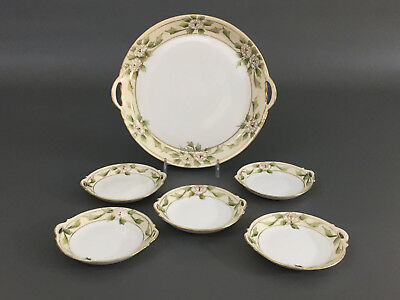 Antique porcelain hand painted NIPPON plates / Dessert Set 1891 - 1921 & ANTIQUE NIPPON Set 6 Plates And A Handled Dish Hand Painted Roses ...