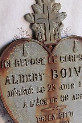 An Antique French Metal Heart Memorial Plaque for 'Albert Boivin' Dated 1914