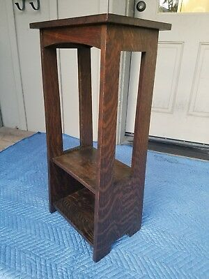 06 LIMBERT DARK OAK STAND 214 Cutouts Arts & Crafts Stickley Era Antique Mission