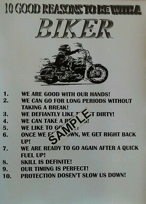 """10 Good Reasons To Be With A Biker"" Wall- Garage Sign / Custom Hd Cruiser Gift"