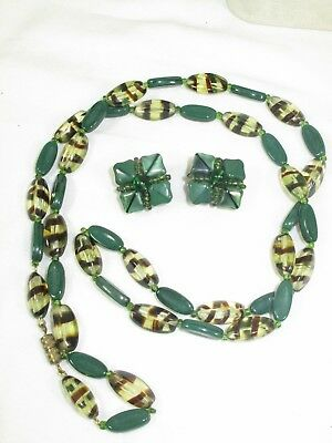 "Vintage Art Deco Czech Green Art Glass Striped Bead 31"" Necklace Earrings"