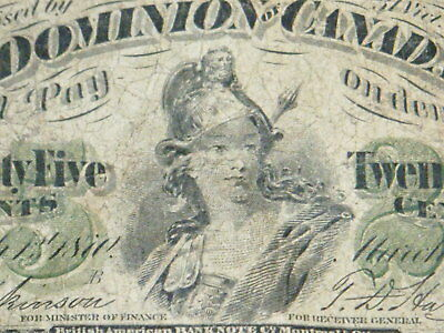 1870 Twenty Five 25 Cents Dominion Of Canada Banknote Currency Shinplaster