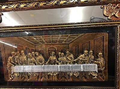 Framed Gold Shadow Box Last Supper Mirrored Picture Wall Plaque 13.38 X 20.87""