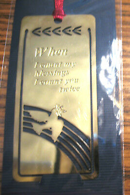 Gold Metal Bookmark w Inspirational Message: When I Count My Blessings You Twice