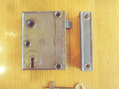 Antique Cast Iron Rim Lock Keep & Brass Key *Reversible* Night Security Latch *