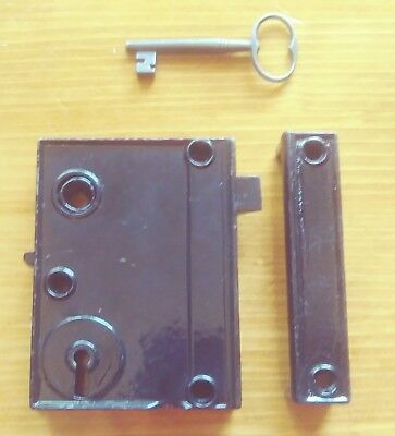 Antique Cast Iron Rim Lock Keep & Unique Key *Reversible* Night Security Latch *