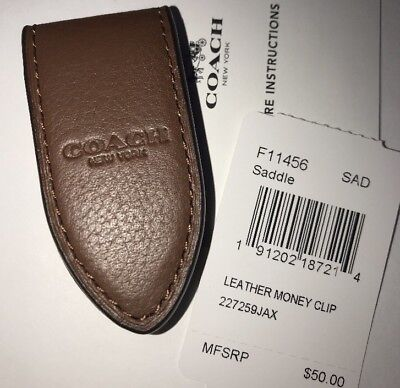 Coach Leather Money Clip Saddle Magnetic Flap F11456 NWT $50