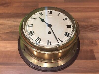 Large Vintage English Brass Ships Clock Working Nautical Maritime Marine Boat