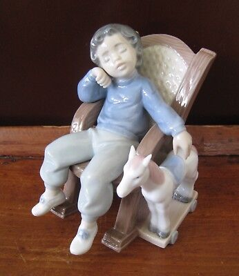 "LLADRO Figurine ""All Tuckered Out"" Boy Sleeping Chair ~ Mint"