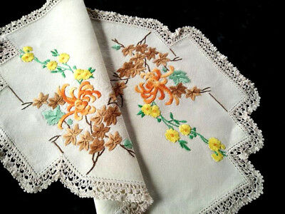 Beautiful Vintage Centrepiec   -Hand Embroidered Autumnal Flowers & Leaves