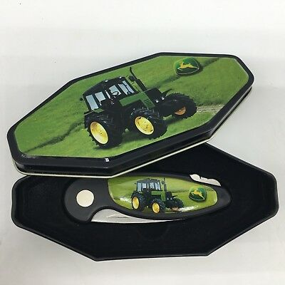 """John Deere Tractor Collectors Knife & Gift Tin Stainless Locking Blade 5.75"""" NEW"""