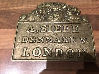 Cast Brass Siebe Gorman Divers Equip Plaque Maritime Marine Nautical Boat