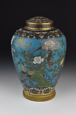 Antique 19th Century Chinese Cloisonne Covered Urn w/ Flower & Butterflies
