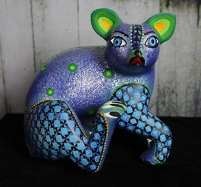 Detailed Blue & Silver Koala Bear Hand Carved & Painted Oaxaca Mexican Folk Art