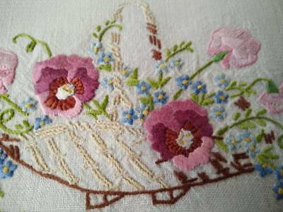 Charming Vintage Centrepiece   - Hand embroidered Pansy & Sweet-pea Basket