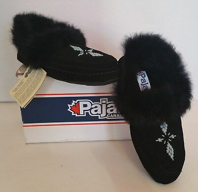NEW Pajar Women's Manue Black Suede Beaded Moccasin Slippers Shoes 39 $110