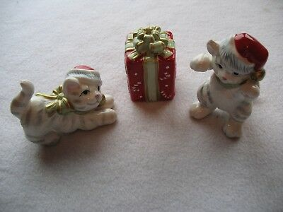 Fitz And Floyd Kitty Kringle Christmas Cats And Present Figurines