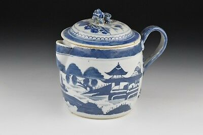 Small 19th Century Chinese Export Canton Porcelain Cider Jug w/ Figural Foo Dog