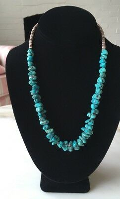 Vintage Native American Puca Shell Heishi Turquoise Chunk Bead Necklace 20""