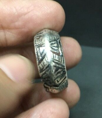 Antique Islamic Eastern hand made Engraved Intaglio Neillo Silver Seal  Ring